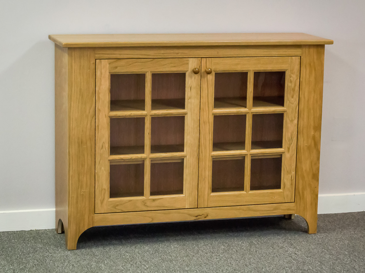 Amazing CHERRY HALL CABINET WITH MULLION GLASS DOORS